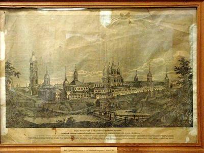Старинное изображение монастыря и гостиниц